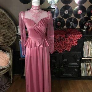 Vintage lace & satin maxi dress